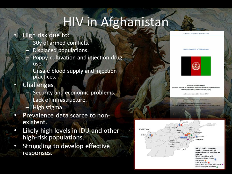 HIV in Afghanistan High risk due to: High risk due to: – 30y of armed conflicts.