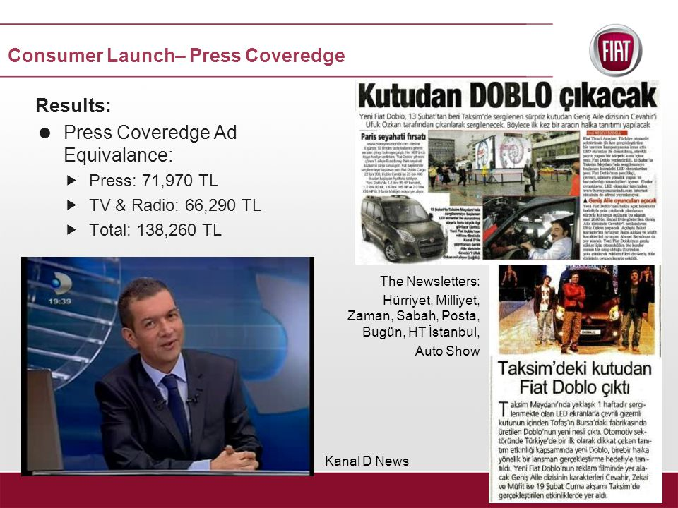 Results:  Press Coveredge Ad Equivalance:  Press: 71,970 TL  TV & Radio: 66,290 TL  Total: 138,260 TL The Newsletters: Hürriyet, Milliyet, Zaman, Sabah, Posta, Bugün, HT İstanbul, Auto Show Kanal D News Consumer Launch– Press Coveredge