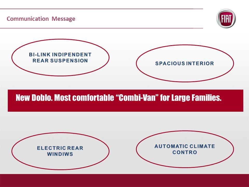 Communication Message New Doblo. Most comfortable Combi-Van for Large Families.