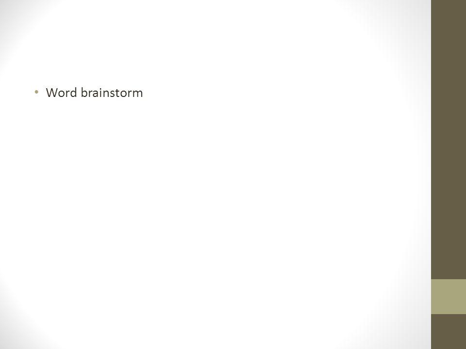 Word brainstorm