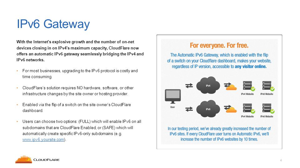 IPv6 Gateway With the Internet s explosive growth and the number of on-net devices closing in on IPv4 s maximum capacity, CloudFlare now offers an automatic IPv6 gateway seamlessly bridging the IPv4 and IPv6 networks.
