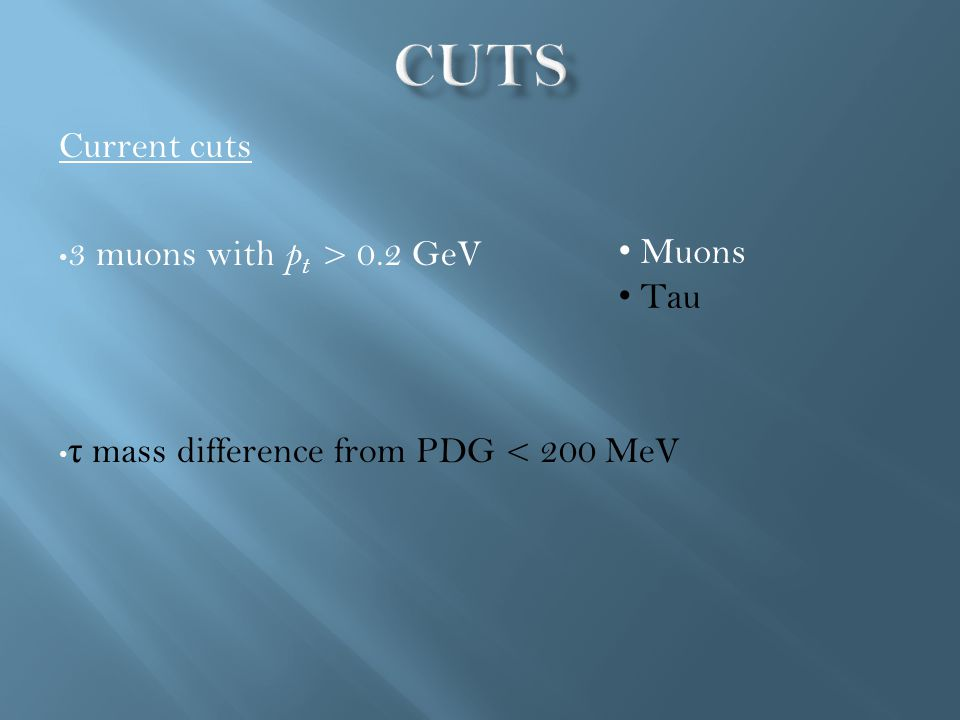 Current cuts 3 muons with p t > 0.2 GeV τ mass difference from PDG < 200 MeV Muons Tau