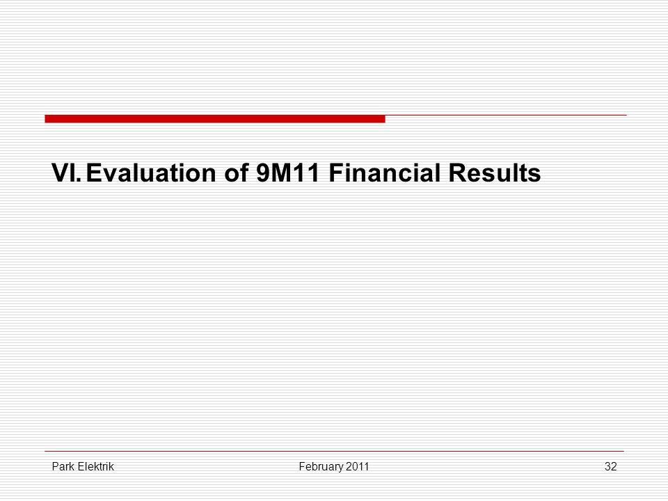 Park Elektrik32 VI.Evaluation of 9M11 Financial Results February 2011