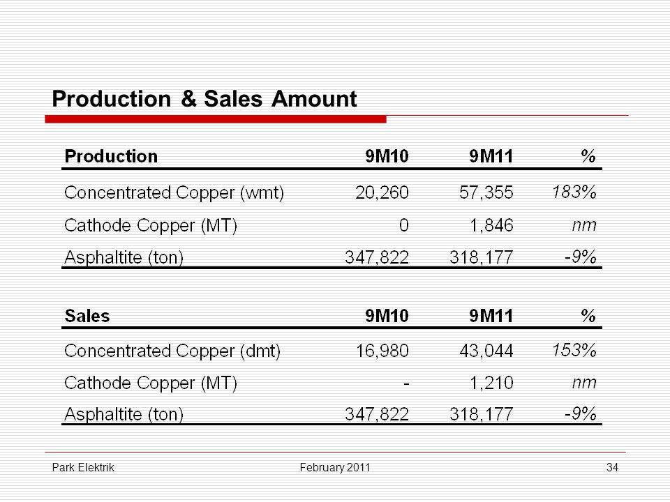 Park Elektrik34 Production & Sales Amount February 2011