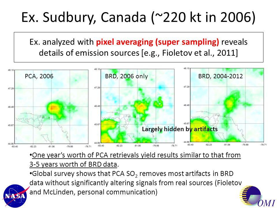 Ex. Sudbury, Canada (~220 kt in 2006) Ex. analyzed with pixel averaging (super sampling) reveals details of emission sources [e.g., Fioletov et al., 2