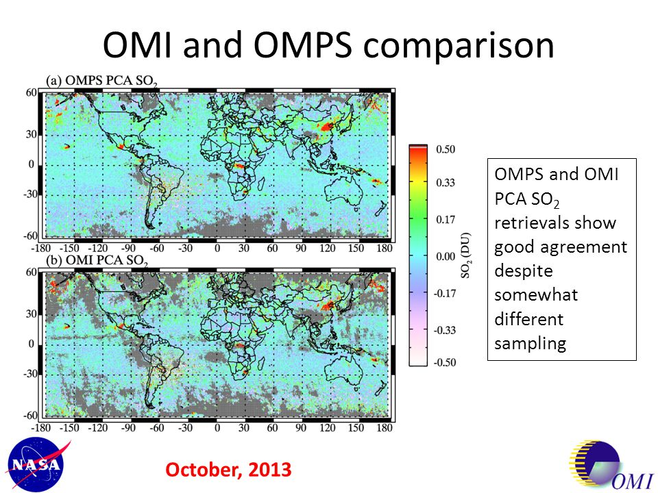 OMI and OMPS comparison OMPS and OMI PCA SO 2 retrievals show good agreement despite somewhat different sampling October, 2013