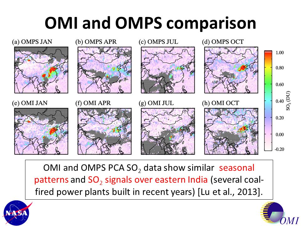 OMI and OMPS comparison OMI and OMPS PCA SO 2 data show similar seasonal patterns and SO 2 signals over eastern India (several coal- fired power plant