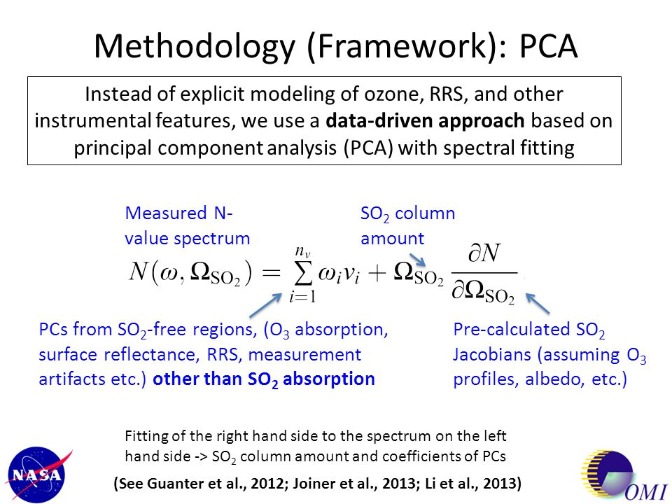 Methodology (Framework): PCA Instead of explicit modeling of ozone, RRS, and other instrumental features, we use a data-driven approach based on princ