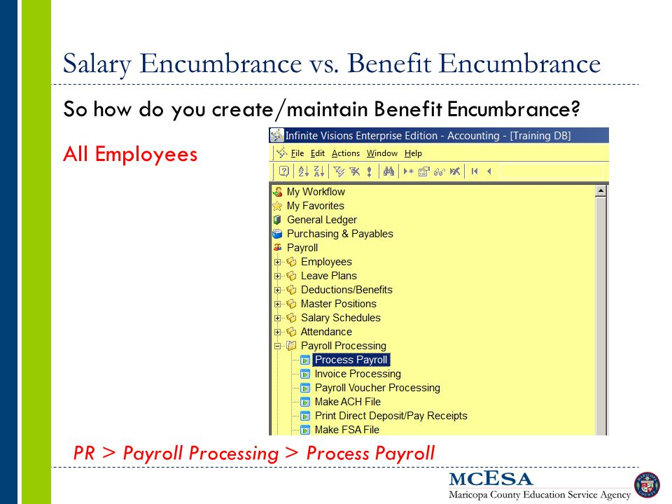 Salary Encumbrance vs. Benefit Encumbrance So how do you create/maintain Benefit Encumbrance.