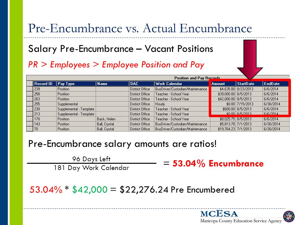 Pre-Encumbrance vs. Actual Encumbrance Salary Pre-Encumbrance – Vacant Positions PR > Employees > Employee Position and Pay Pre-Encumbrance salary amo