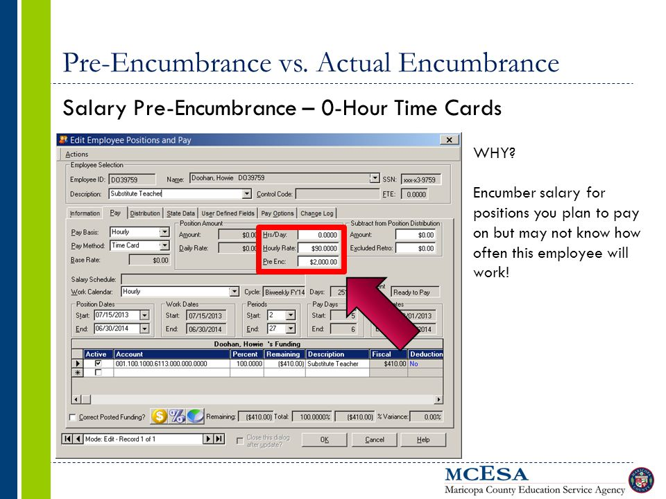 Pre-Encumbrance vs. Actual Encumbrance Salary Pre-Encumbrance – 0-Hour Time Cards WHY.