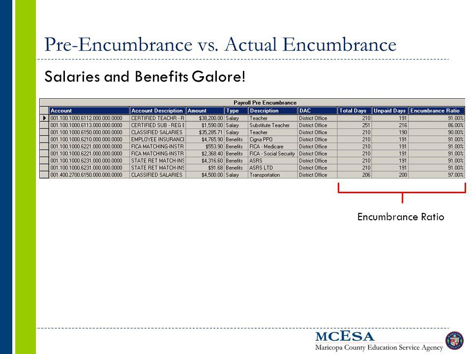 Pre-Encumbrance vs. Actual Encumbrance Salaries and Benefits Galore! Encumbrance Ratio
