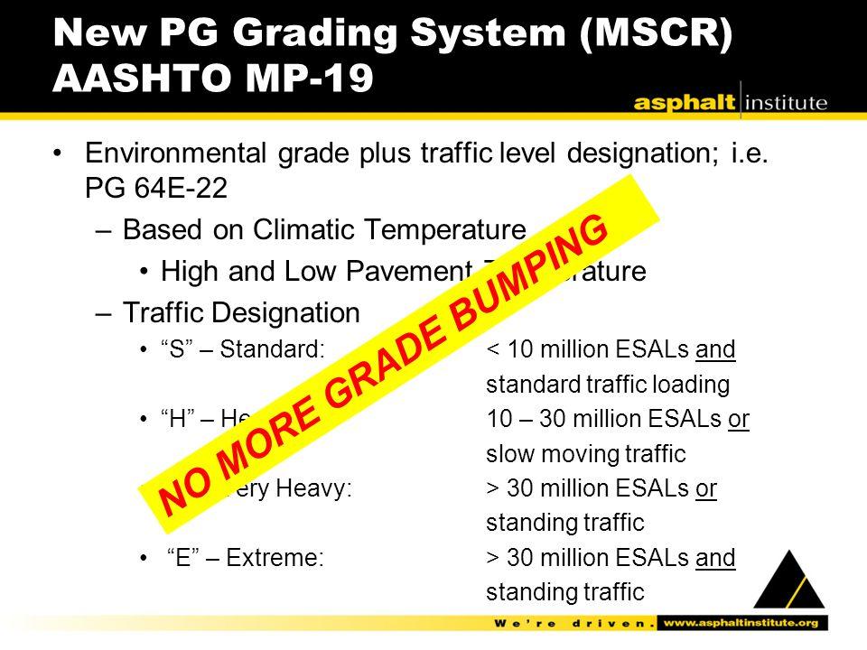 New PG Grading System (MSCR) AASHTO MP-19 Environmental grade plus traffic level designation; i.e. PG 64E-22 –Based on Climatic Temperature High and L