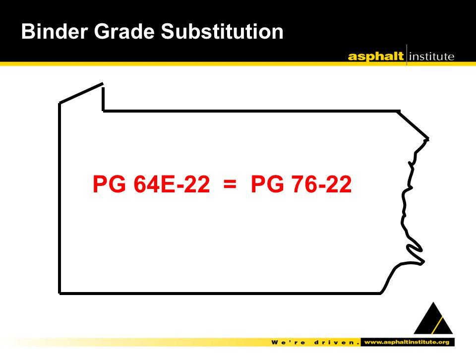Binder Grade Substitution PG 64E-22 = PG 76-22