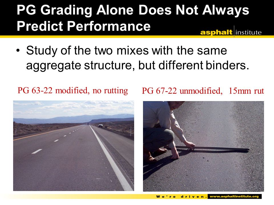 PG Grading Alone Does Not Always Predict Performance Study of the two mixes with the same aggregate structure, but different binders. PG 63-22 modifie