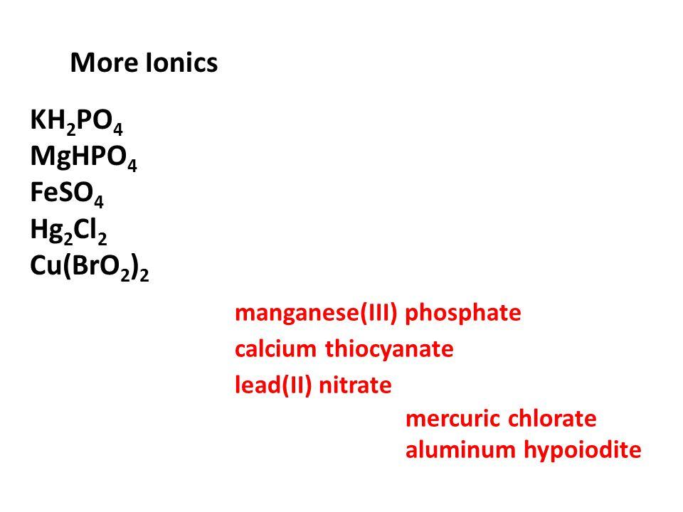 More Ionics KH 2 PO 4 MgHPO 4 FeSO 4 Hg 2 Cl 2 Cu(BrO 2 ) 2 manganese(III) phosphate calcium thiocyanate lead(II) nitrate mercuric chlorate aluminum h