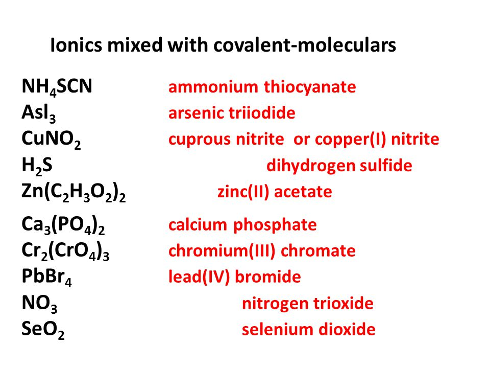 Ionics mixed with covalent-moleculars NH 4 SCN ammonium thiocyanate Asl 3 arsenic triiodide CuNO 2 cuprous nitrite or copper(I) nitrite H 2 S dihydrog