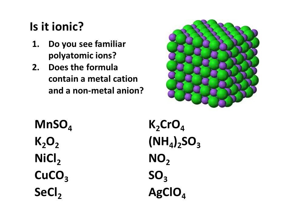 Ionics… some helpful generalizations 5.Polyatomic cations have names to be memorized: NH 4 + is ammonium.