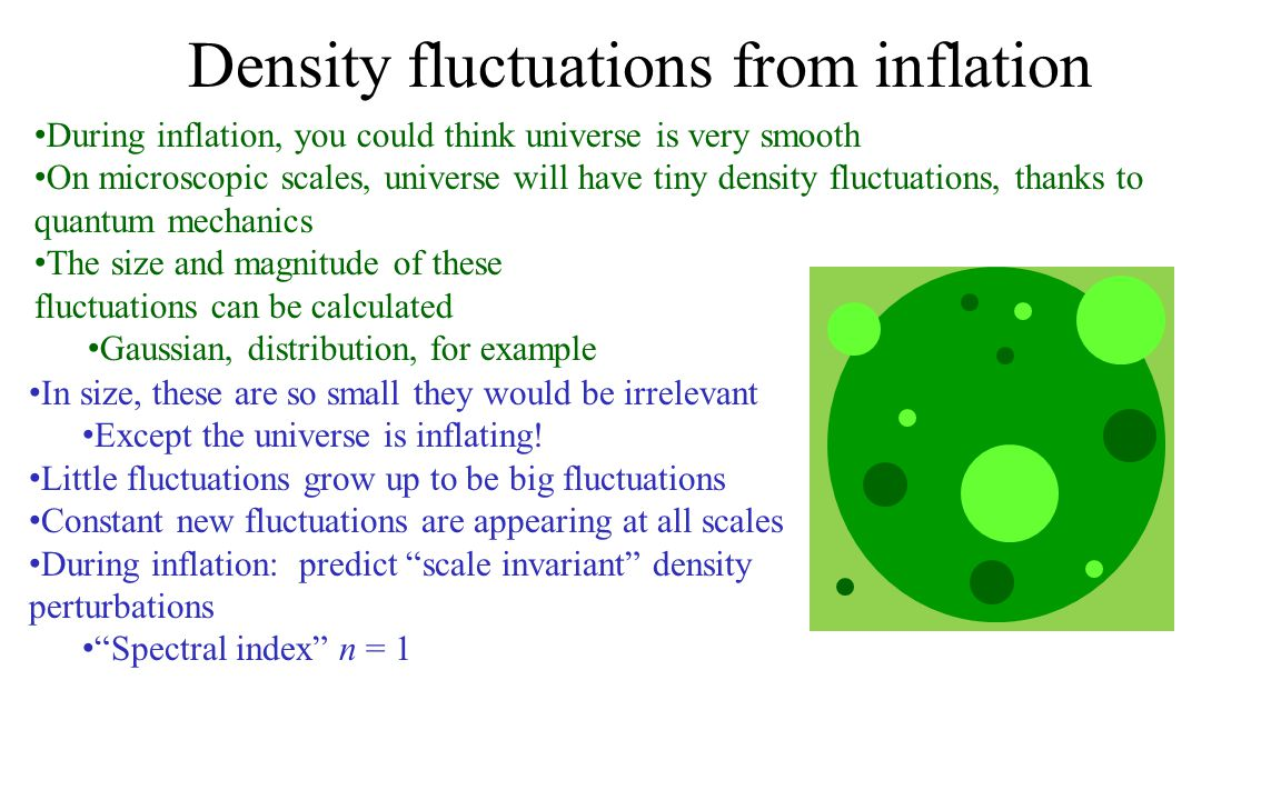 Density fluctuations from inflation During inflation, you could think universe is very smooth On microscopic scales, universe will have tiny density fluctuations, thanks to quantum mechanics The size and magnitude of these fluctuations can be calculated Gaussian, distribution, for example In size, these are so small they would be irrelevant Except the universe is inflating.