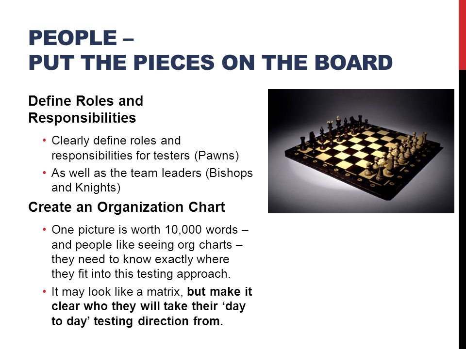 PEOPLE – PUT THE PIECES ON THE BOARD Define Roles and Responsibilities Clearly define roles and responsibilities for testers (Pawns) As well as the team leaders (Bishops and Knights) Create an Organization Chart One picture is worth 10,000 words – and people like seeing org charts – they need to know exactly where they fit into this testing approach.