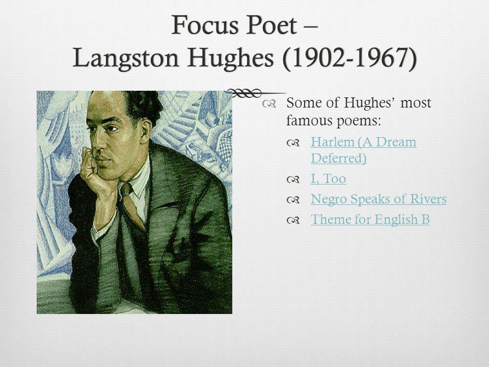 Focus Poet – Langston Hughes (1902-1967)  Some of Hughes' most famous poems:  Harlem (A Dream Deferred) Harlem (A Dream Deferred)  I, Too I, Too 