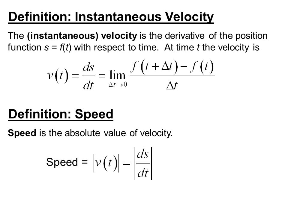 Example 4: A Moving Particle A particle moves along a line so that its position at any time is given by the function where s is measured in meters and t is measured in seconds.