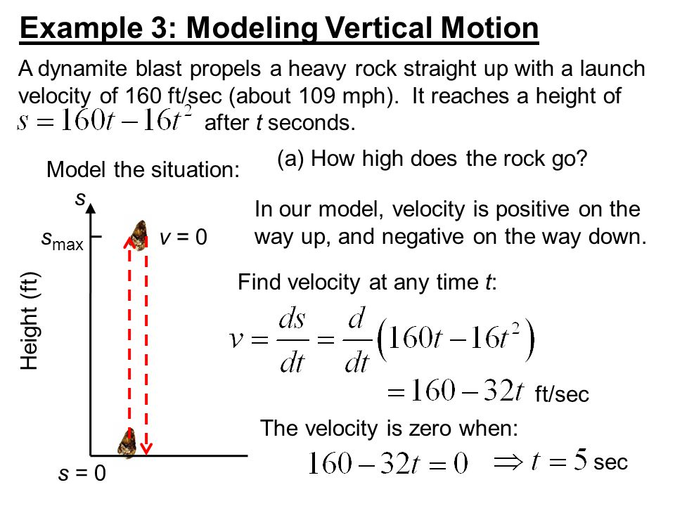 Example 3: Modeling Vertical Motion A dynamite blast propels a heavy rock straight up with a launch velocity of 160 ft/sec (about 109 mph).