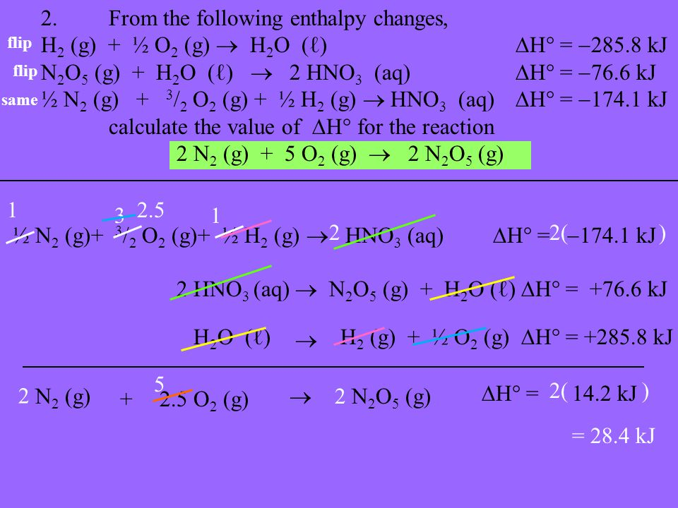 2.From the following enthalpy changes, H 2 (g) + ½ O 2 (g)  H 2 O (ℓ)  H  =  285.8 kJ N 2 O 5 (g) + H 2 O (ℓ)  2 HNO 3 (aq)  H  =  76.6 kJ ½ N