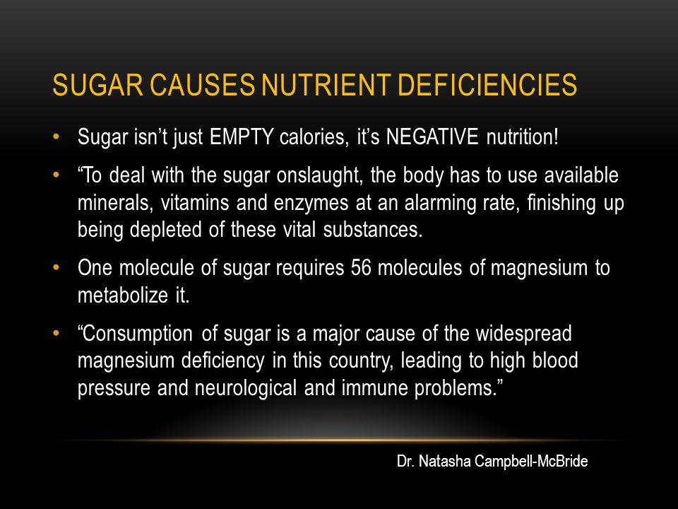 SUGAR CAUSES NUTRIENT DEFICIENCIES Sugar isn't just EMPTY calories, it's NEGATIVE nutrition.