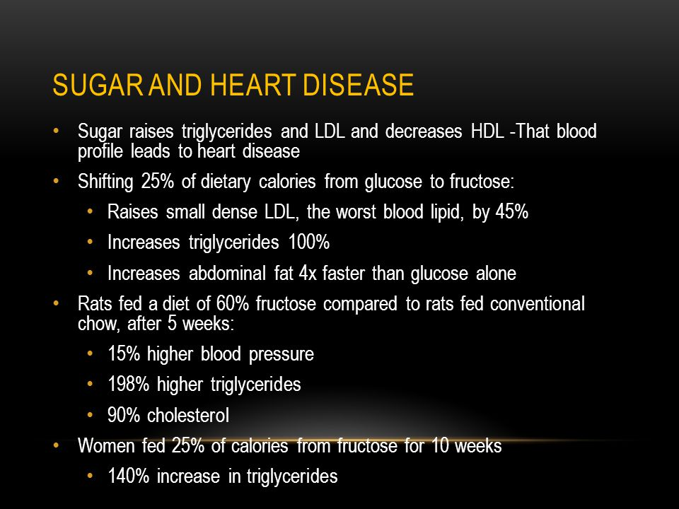 SUGAR AND HEART DISEASE Sugar raises triglycerides and LDL and decreases HDL -That blood profile leads to heart disease Shifting 25% of dietary calories from glucose to fructose: Raises small dense LDL, the worst blood lipid, by 45% Increases triglycerides 100% Increases abdominal fat 4x faster than glucose alone Rats fed a diet of 60% fructose compared to rats fed conventional chow, after 5 weeks: 15% higher blood pressure 198% higher triglycerides 90% cholesterol Women fed 25% of calories from fructose for 10 weeks 140% increase in triglycerides