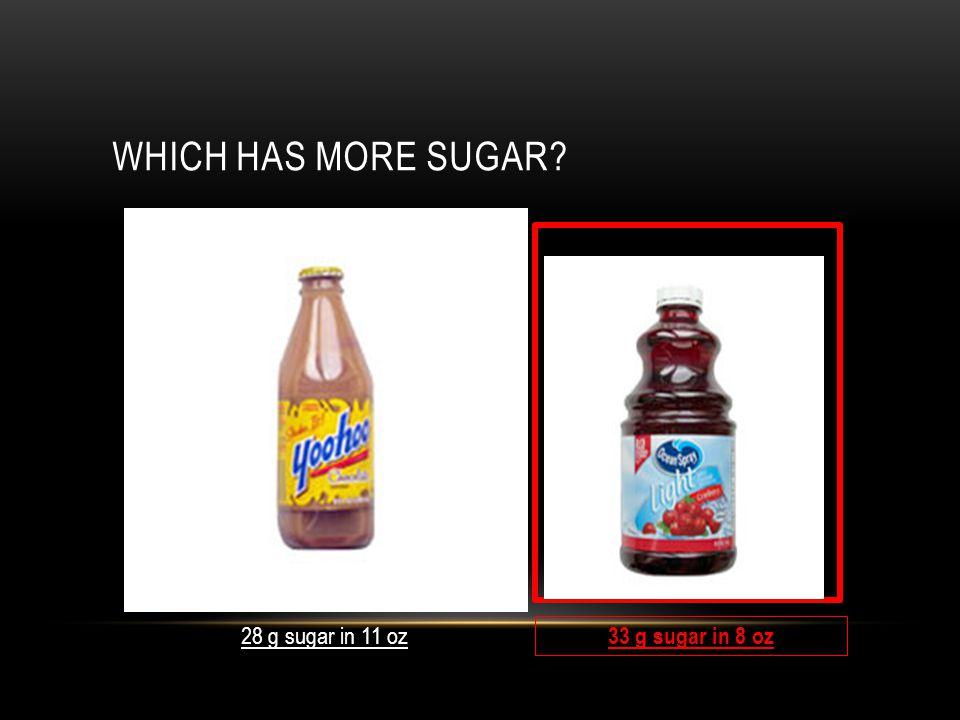 WHICH HAS MORE SUGAR 28 g sugar in 11 oz 33 g sugar in 8 oz