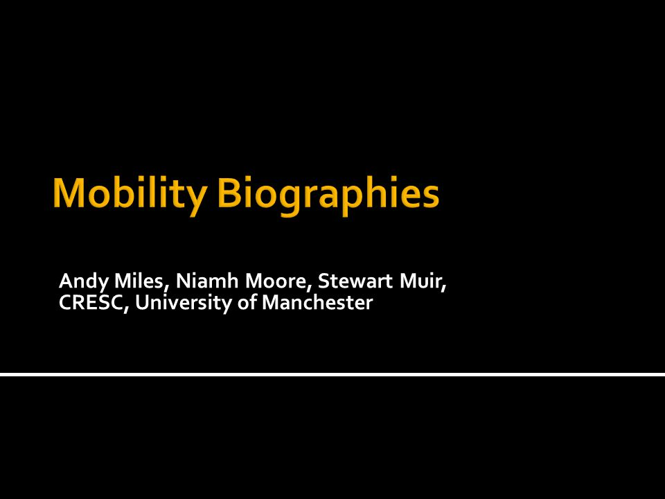Andy Miles, Niamh Moore, Stewart Muir, CRESC, University of Manchester