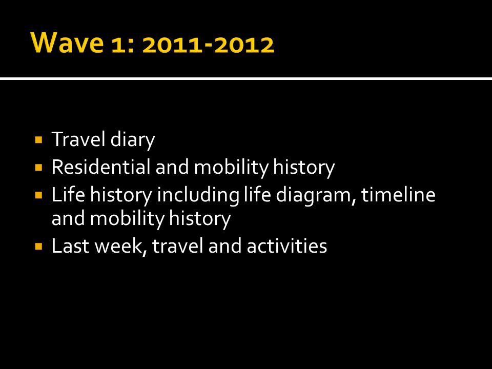  Travel diary  Residential and mobility history  Life history including life diagram, timeline and mobility history  Last week, travel and activities