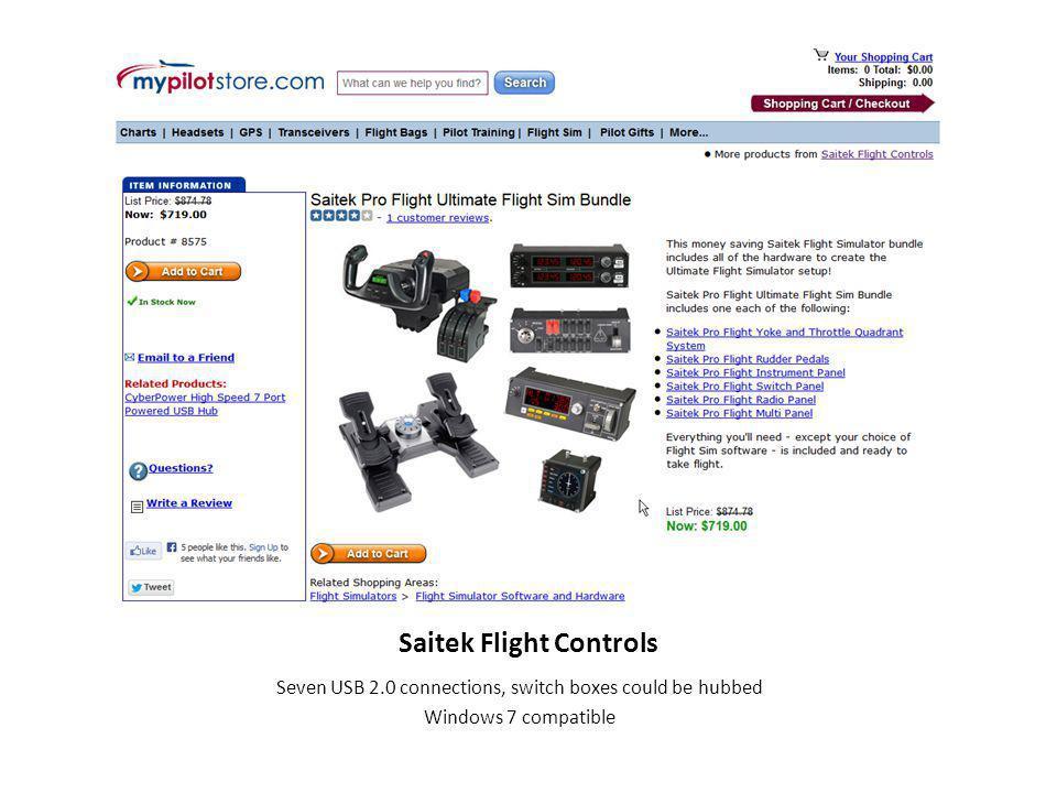 Saitek Flight Controls Seven USB 2.0 connections, switch boxes could be hubbed Windows 7 compatible