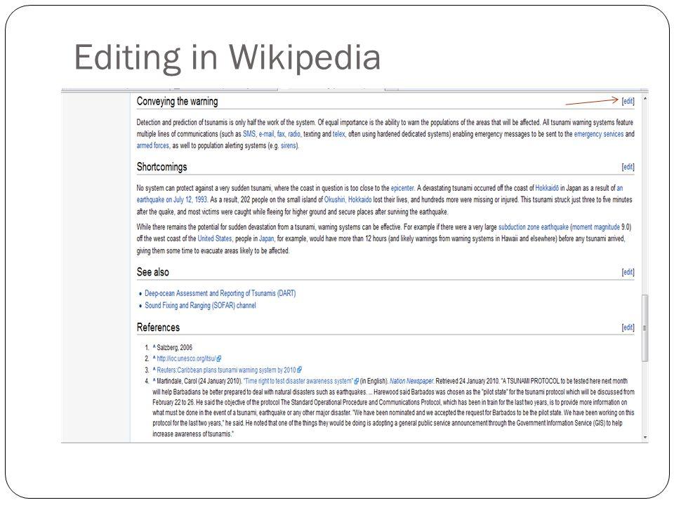 Editing in Wikipedia