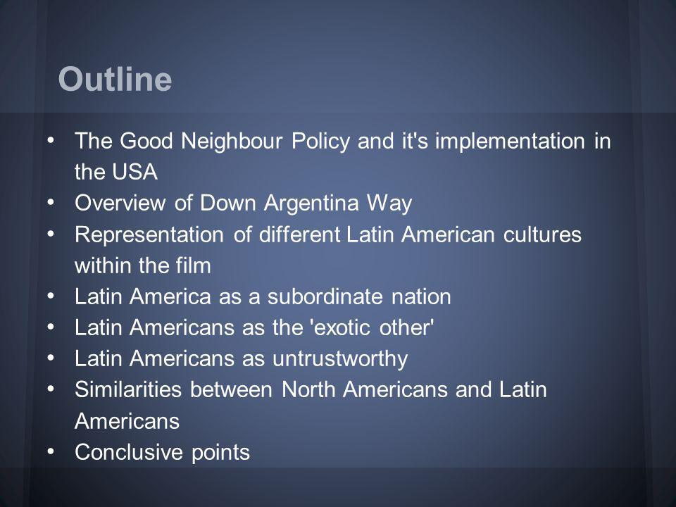 Security: To ensure that nations in Latin America were joined in the Allied war effort and were not associated with the Axis or Communist sympathisers. Economic interests: To allow the US access to Latin America as a source of raw materials and a market for goods, including films. (Falicov, 2007: 15) America wanted to maintain its military and economic strength, the underlying values of its national culture.