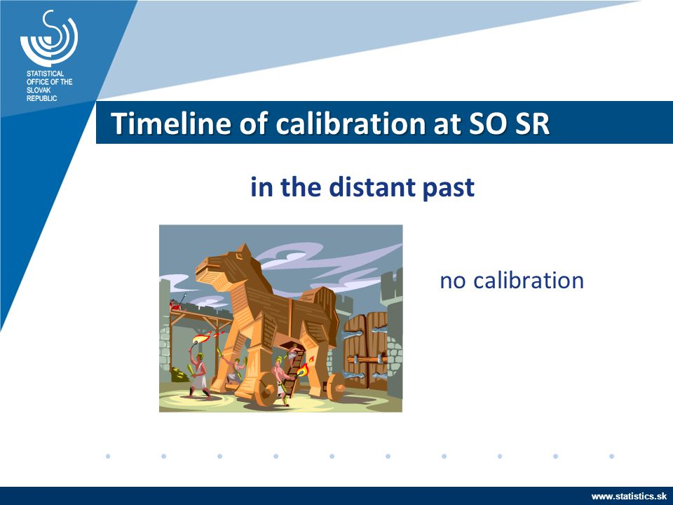 www.statistics.sk Timeline of calibration at SO SR in the distant past no calibration