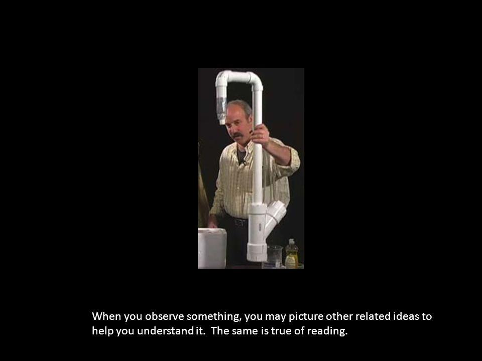 When you observe something, you may picture other related ideas to help you understand it. The same is true of reading.