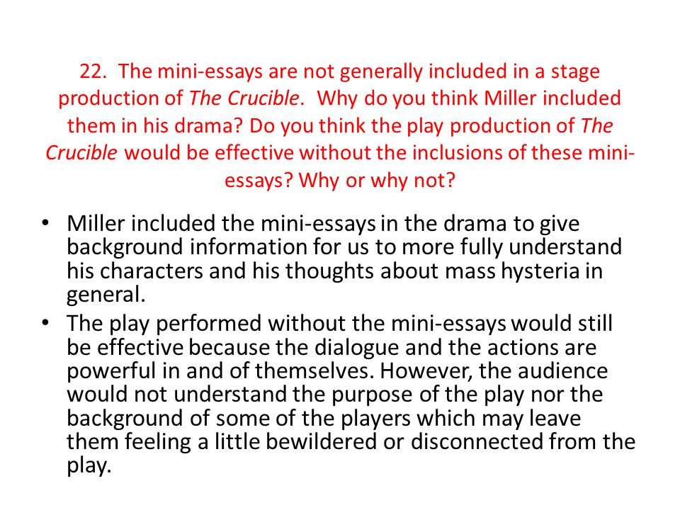 Essay Of The Crucible