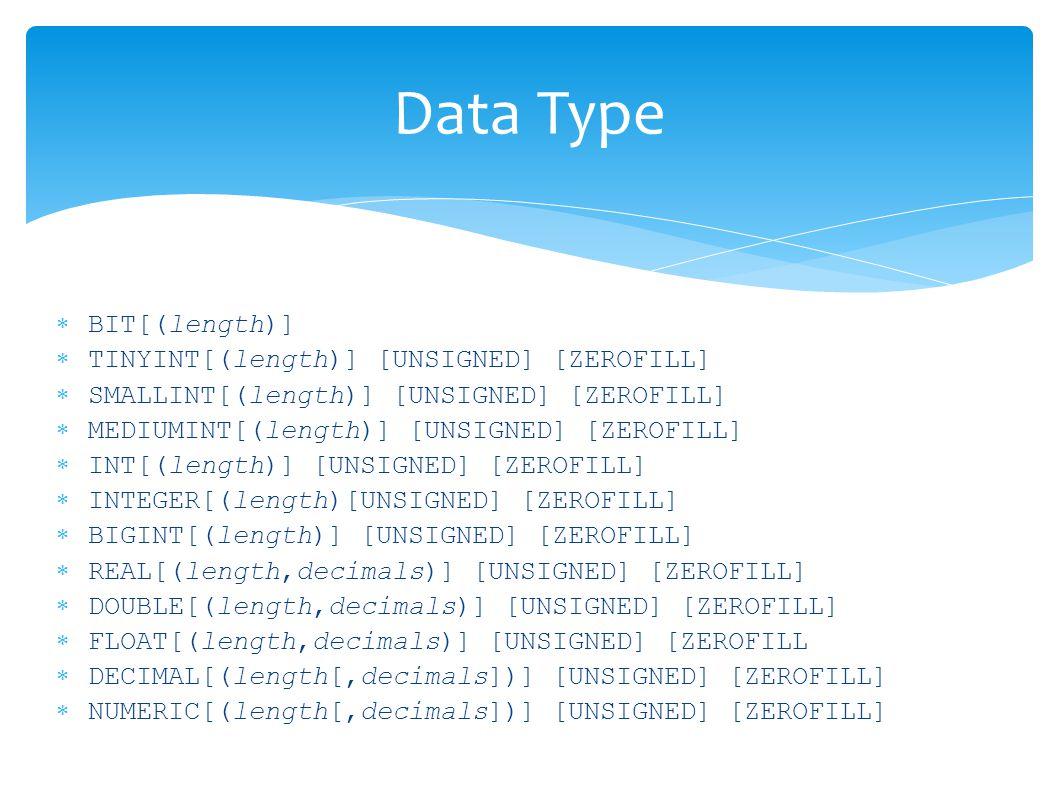 Data Type  BIT[(length)]  TINYINT[(length)] [UNSIGNED] [ZEROFILL]  SMALLINT[(length)] [UNSIGNED] [ZEROFILL]  MEDIUMINT[(length)] [UNSIGNED] [ZEROFILL]  INT[(length)] [UNSIGNED] [ZEROFILL]  INTEGER[(length)[UNSIGNED] [ZEROFILL]  BIGINT[(length)] [UNSIGNED] [ZEROFILL]  REAL[(length,decimals)] [UNSIGNED] [ZEROFILL]  DOUBLE[(length,decimals)] [UNSIGNED] [ZEROFILL]  FLOAT[(length,decimals)] [UNSIGNED] [ZEROFILL  DECIMAL[(length[,decimals])] [UNSIGNED] [ZEROFILL]  NUMERIC[(length[,decimals])] [UNSIGNED] [ZEROFILL]