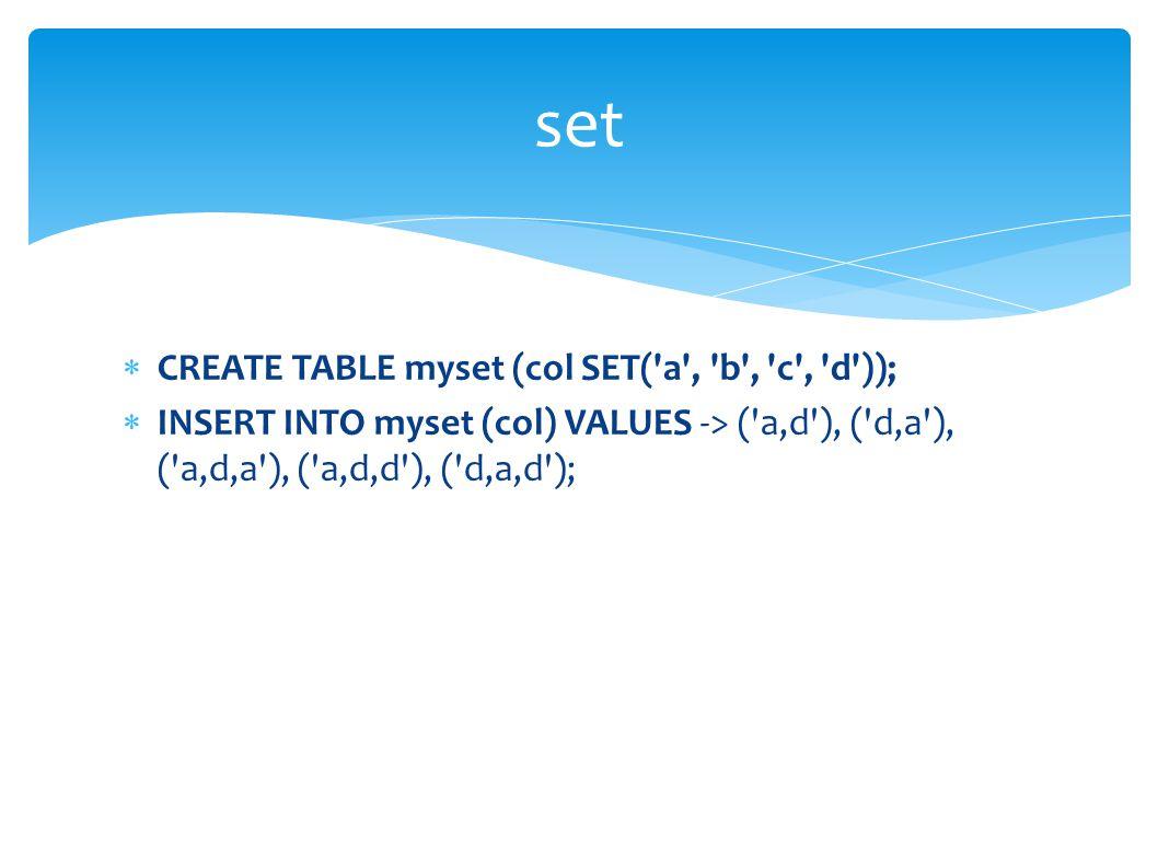 set  CREATE TABLE myset (col SET( a , b , c , d ));  INSERT INTO myset (col) VALUES -> ( a,d ), ( d,a ), ( a,d,a ), ( a,d,d ), ( d,a,d );