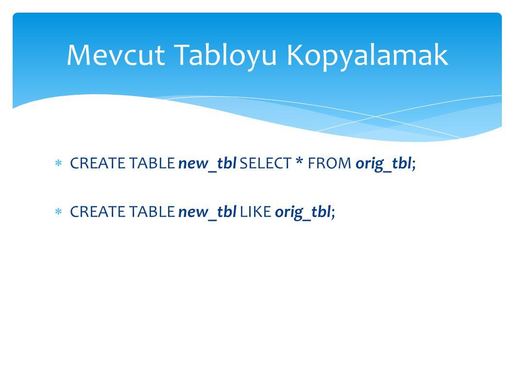 Mevcut Tabloyu Kopyalamak  CREATE TABLE new_tbl SELECT * FROM orig_tbl;  CREATE TABLE new_tbl LIKE orig_tbl;
