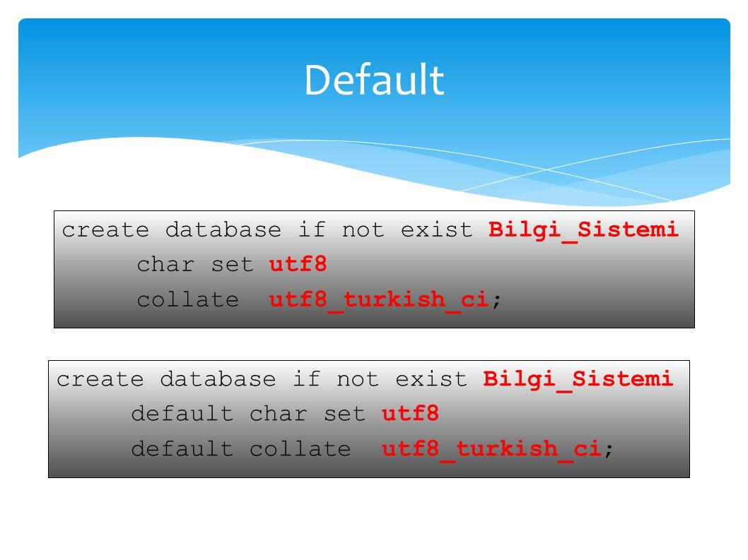 UYGULAMA SELECT * INTO OUTFILE C:/Users/Desktop/dosya_adı_ve_uzantısı INTO TABLE tablo_adı COLUMNS ESCAPED BY , LINES TERMINATED BY - FROM tablo_ad; SELECT alan1,alan2,alan7 INTO OUTFILE C:/Users/Desktop/dosya_adı_ve_uzantısı INTO TABLE tablo_adı COLUMNS ESCAPED BY ; LINES TERMINATED BY \n FROM tablo_ad;