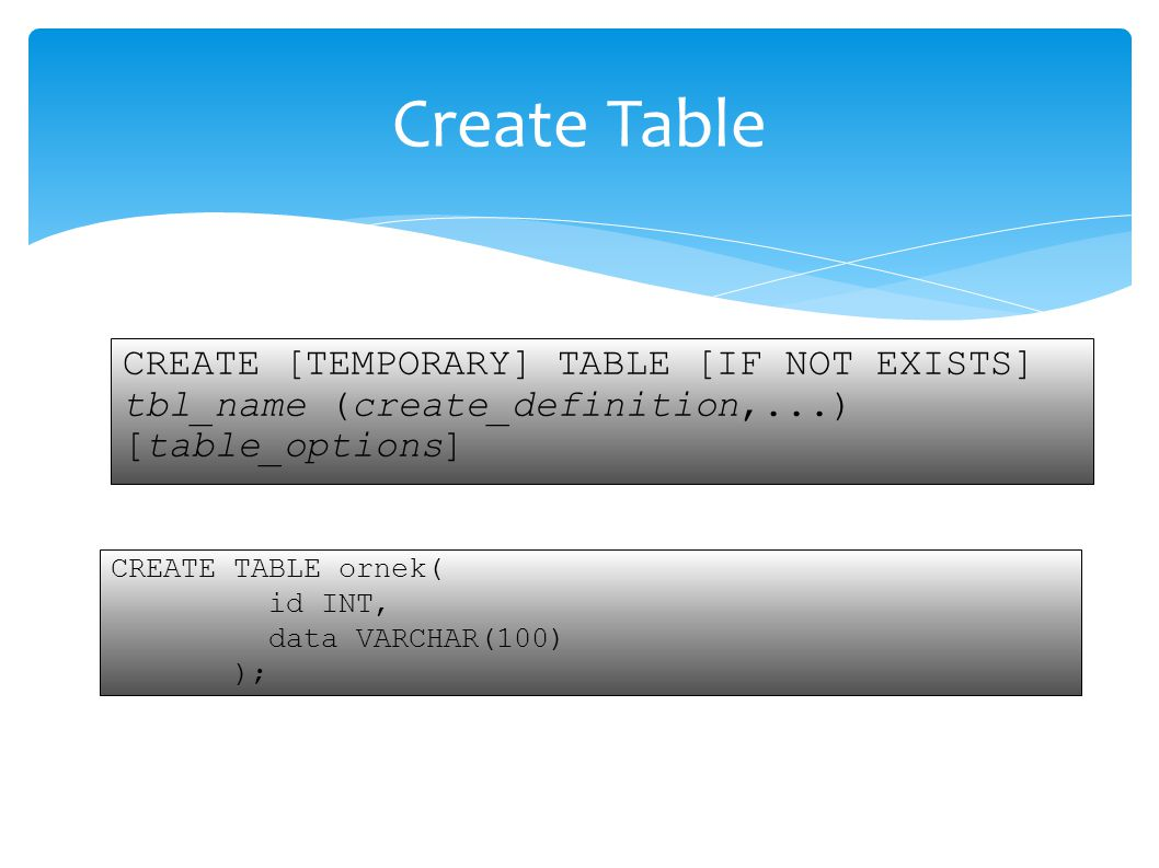  ALTER TABLE testalter_tbl engine= MYISAM;  SHOW TABLE STATUS LIKE testalter_tbl';  ALTER TABLE testalter_tbl RENAME TO alter_tbl;  ALTER TABLE testalter_tbl ORDER BY name;