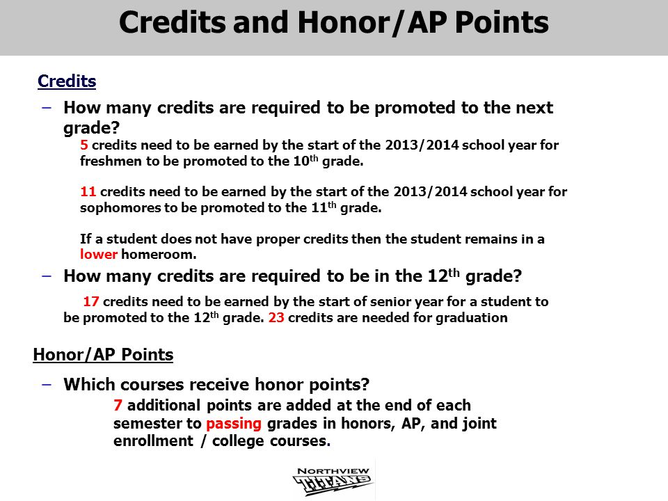 Credits and Honor/AP Points Credits ̶How many credits are required to be promoted to the next grade.
