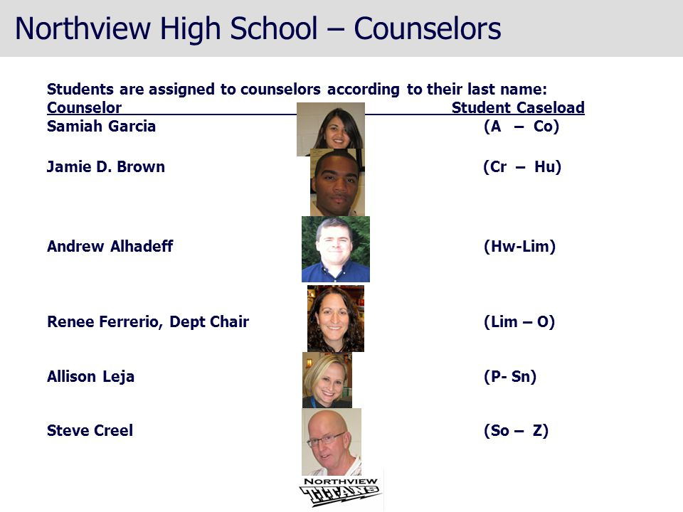 Northview High School – Counselors Students are assigned to counselors according to their last name: Counselor Student Caseload Samiah Garcia (A – Co)