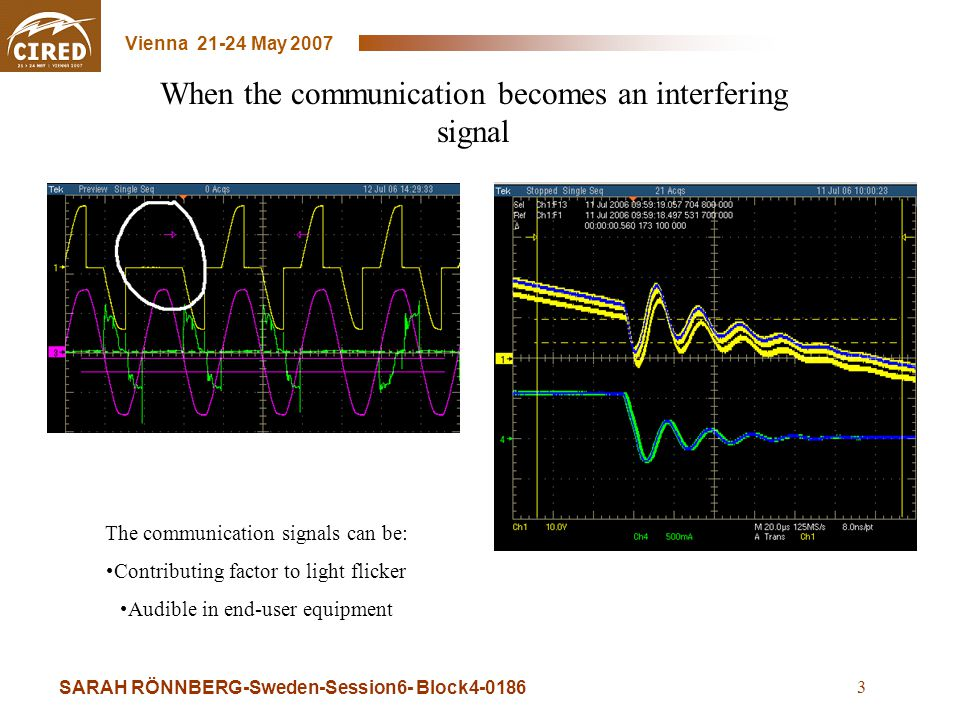 SARAH RÖNNBERG-Sweden-Session6- Block4-0186 Vienna 21-24 May 2007 3 When the communication becomes an interfering signal The communication signals can be: Contributing factor to light flicker Audible in end-user equipment
