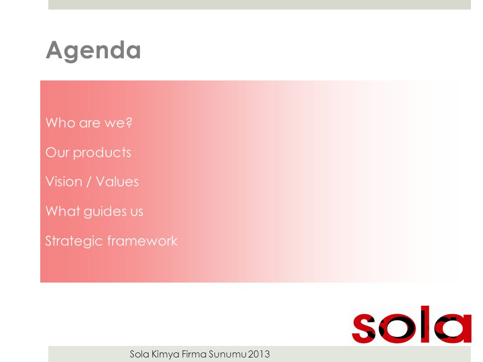 Sola Kimya Firma Sunumu 2013 Agenda Who are we? Our products Vision / Values What guides us Strategic framework