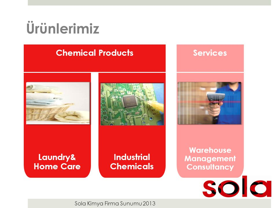 Sola Kimya Firma Sunumu 2013 Ürünlerimiz Warehouse Management Consultancy Services Laundry& Home Care Industrial Chemicals Chemical Products