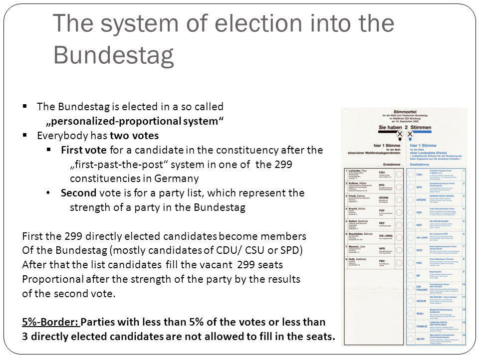 "The system of election into the Bundestag  The Bundestag is elected in a so called ""personalized-proportional system  Everybody has two votes  First vote for a candidate in the constituency after the ""first-past-the-post system in one of the 299 constituencies in Germany Second vote is for a party list, which represent the strength of a party in the Bundestag First the 299 directly elected candidates become members Of the Bundestag (mostly candidates of CDU/ CSU or SPD) After that the list candidates fill the vacant 299 seats Proportional after the strength of the party by the results of the second vote."